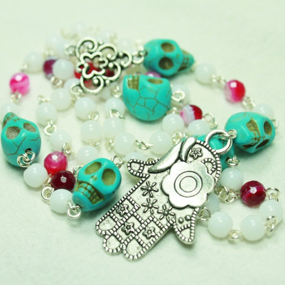 Muertos Skull Rosary with Hamsa, Purple Pink and White Agate, White Glass and Turquoise Blue Skulls