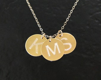 14K Gold Three Coin Disc Necklace - Personalized 11mm Circle Drops Engraved With Your Initials Yellow, White, or Rose Gold