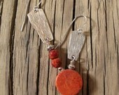 Sterling Silver and Coral Asymmetric Mismatched Dangle Earrings