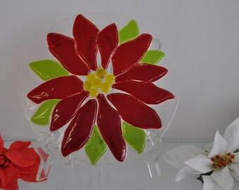 Plate Poinsettia fused