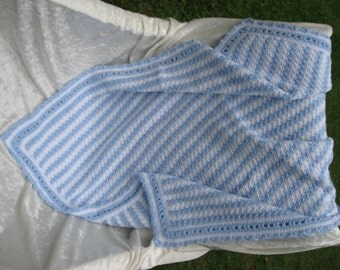 Blue and White Hand Crocheted Baby Blanket Afghan