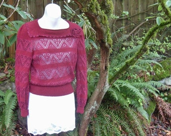 80s novelty sweater -/ vintage crochet sweater / 80s vintage Sak's Fifth Avenue