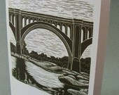 5 x 7 Notecard - A019 TRAIN BRIDGE // linocut card / bridge card / bridge art / Richmond VA / Richmond Virginia / river / landscape / rocks