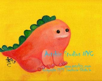 Baby Dinosaur - Herbivore De Cutie. Kids Art Print. Orange. Yellow. Green. Baby Shower Gift. Children's illustration, Poster
