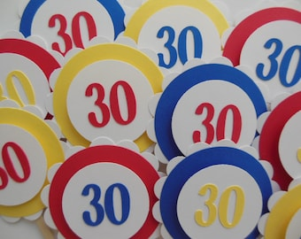 30th Birthday Cupcake Toppers - Red, Yellow and Royal Blue - Adult Birthday Party Decorations - Set of 12