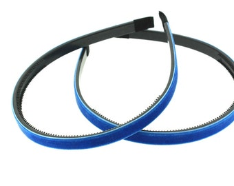"2 pieces - 10mm (3/8"") Velvet Lined Headband with Teeth in Electric Blue - Hair Accessories"