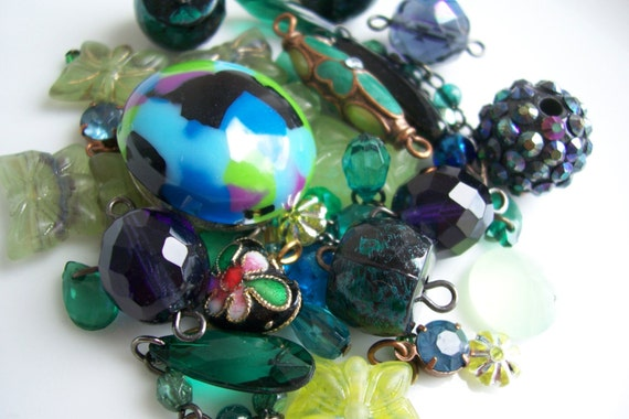 Blue and Green lucky dip - beads and charms lot - over 40 pieces