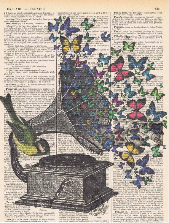 Butterflies Bird Music Gramophone Collage Fantasy Antique Book