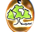 Humanity Tree Ceramic Necklace in Brown