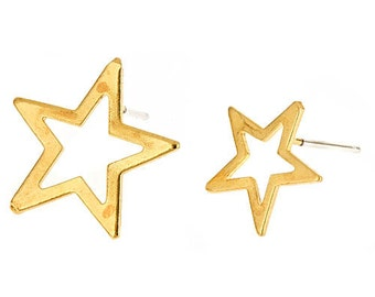 Starburst Studs- 14k gold plated star earrings with sterling silver posts. On sale for 50% off. mismatched, punk, gift for her, teen, small