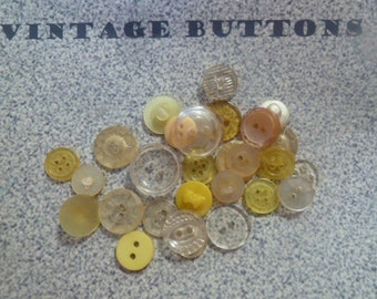 Vintage Buttons in Yellow and Clear Shades and Designs