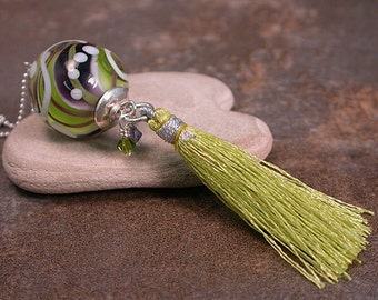Lampwork Glass Bead Necklace Beach Ball Bauble with Tassel Lime Greens with Purple Divine Spark Designs SRA LETeam