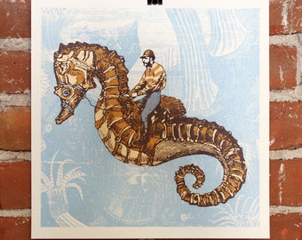 Aquatic Equestrian- Handprinted At Print