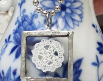 Glass and Antique White Lace Pendant