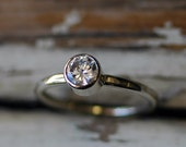 Moissanite Engagement Ring - Bridal Jewelry - Forever Brilliant Moissanite - Solitaire - EcoFriendly Sterling Silver - Promise Ring