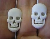 """Skull Earring - White - 1/2"""" - Clip or Pierced"""