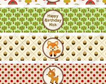 Printable Woodland Animals Birthday Water Bottle Wrappers