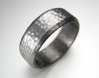 Tungsten Luxe by Spexton Handmade Distressed Men's Wedding Band 8MM