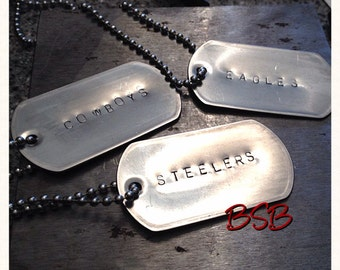 Sports themed metal stamped dog tag necklace free shipping