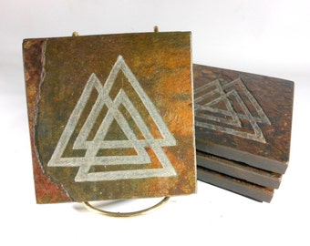 Slate Stone Coasters: VALKNUT Odin's Knot - Handmade Carved Coaster Set of 4 - Natural Quality Drink Coasters Norse Viking Asatru Home Decor