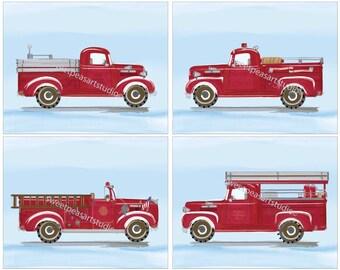Fire Truck Wall Art, Firetruck Engines Vintage Blue Art Prints for Boys Kids Bedding Decor