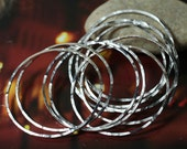 Hand hammered textured silver plated organic circular link O ring connector 40mm outer diameter, 6 pcs (item ID XMFA00017BDEK)