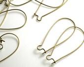 Antique brass kidney ear wire 35x18mm, 24 pcs  (item ID YWABHB00131)