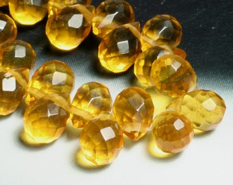 Citrine quartz faceted teardrop briolette 12x8mm, 2 pcs (item ID CQFT12x8A)