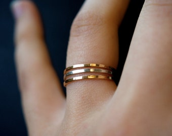 Set of 3 Gold fill and Silver Medium Thick Stacking rings, 14k gold fill stackable rings, sterling silver stack rings, minimalist rings