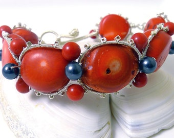 Coral and Sterling Silver Wire Wrapped Bangle