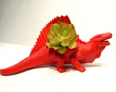 Dinosaur Planter Painted Red for Succulent Plants for Small Cacti