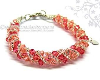 Swarovski bracelet, Sweet Raspberry twisty Swarovski Crystal Bracelet by CandyBead