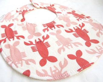 Baby Girl or Baby Boy Bib - Neutral Bib - Lobsters on Cream - Crab Shack - cotton bib with terry cloth backing