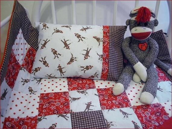 Cejae's Custom Order Crib Set in Moda Powder Blue Sock Monkey Quilt, Crib Skirt, Pillow Case and Pillow