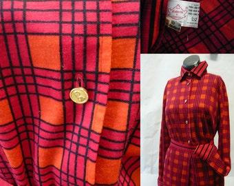 Vintage Roberta Di CAMERINO Boarder Print Day Dress ..2-piece Skirt Shirt .. SIGNATURE Buttons MOD Plaid.. Wool Jersey .. Italy 1979
