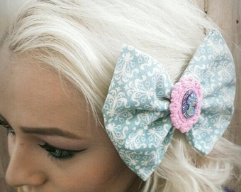 Marie Antoinette Pink Cameo Teal Damask Bow, Victorian Lady, Large Oversized Jumbo Hair Bow