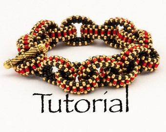 Beadwoven Bracelet Tutorial I Love Links with seed beads - Instant Digital Download
