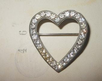 Vintage  rhinestone heart  pin