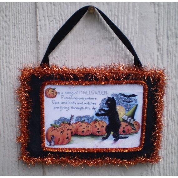Halloween decoration vintage style retro black cat jack o lantern home decor ornament OOAK wall hanging