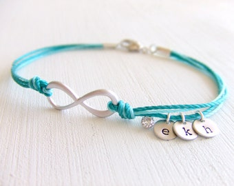 Infinity Friendship Jewelry Bracelet - Family Personalized Charms - Friendship Bracelet - Under 25