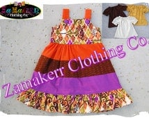 Custom Boutique Clothing Fall Autumn Thanksgiving Turkey Aline Jumper Tiered Twirl Girl Dress 3 6 9 12 18 24 month size 2T 3T 4T 5T 6 7 8