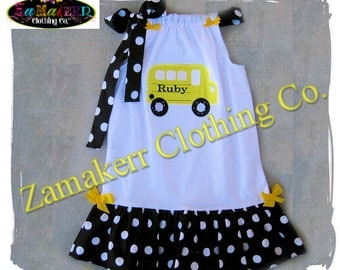 Girl School Dress Back To School BUS Clothing Outfit 24 MONTH SIZE 2 T 3 4 5 6 7 8 Custom Boutique 1st day of Kindergarten Preschool Outfit