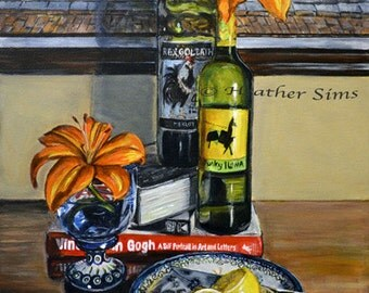 Polish Pottery, wine art, still life art,kitchen art,large Original acrylic painting,still life painting,kitchen artwork Heather Sims
