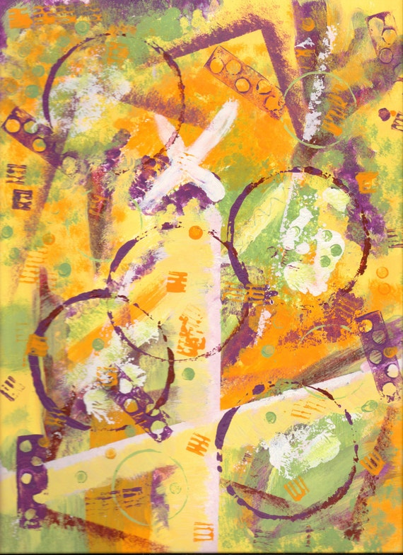 Digital Art Scan of Mixed Media Painting - Citrus Dreams - 600 dpi