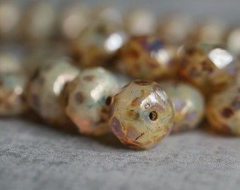 Champagne Gold Luster Picasso 8x6mm Czech Glass Bead Faceted Rondelle : 12 pc Faceted Gold Rondel