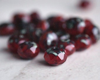 Garnet Picasso Czech Glass Bead 8x6mm Rondelle : 12 Red Opal 6x8mm Donut Beads