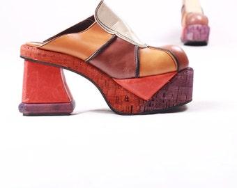 Vintage 70s Chunky Cork Wooden Platform Heel Tan Orange and Brown Mules Shoes 70s Disco Sz 8 (31)