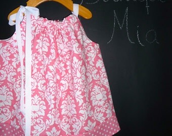 SAMPLE - Pillowcase Dress or Top - Pink Damask - Will fit Size 6-12 month up to 3T - by Boutique Mia - Ready To Ship