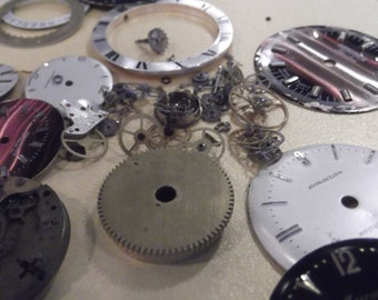 Wholesale lot of watch parts, watch faces, steampunk