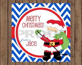 Santa Favor Tags / Santa Hockey Favor Tags / Hockey Favor Tags / Santa Gift Tags / Hockey Santa Tags / Christmas Tags / PRINTABLE